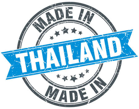 made in: made in Thailand blue round vintage stamp
