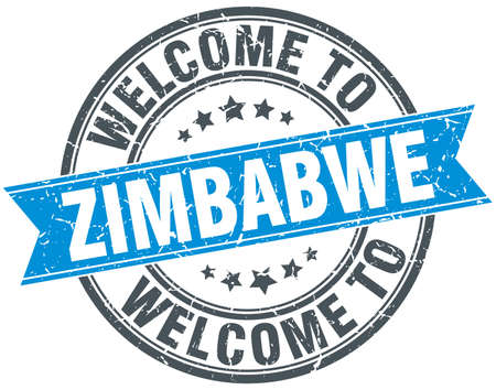 zimbabwe: Bienvenido a Blue cosecha sello redondo Zimbabwe