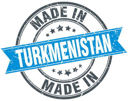 turkmenistan: made in Turkmenistan blue round vintage stamp