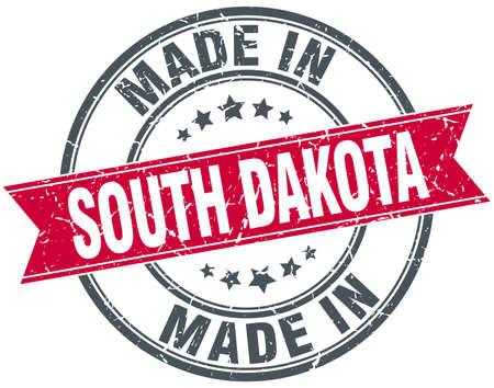 south dakota: made in South Dakota red round vintage stamp