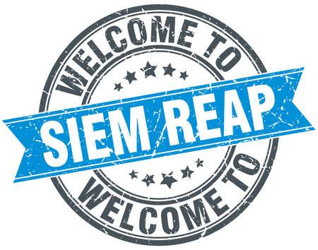 siem reap: welcome to Siem Reap blue round vintage stamp Illustration