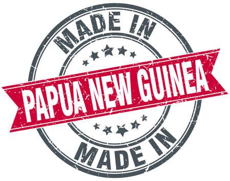 fait en Papouasie-Nouvelle-Guinée, rond rouge vintage stamp