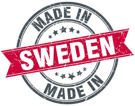 sweden: made in Sweden red round vintage stamp