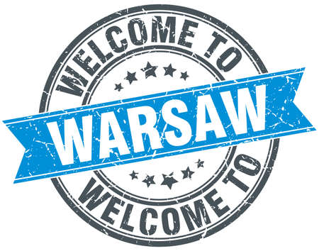 warsaw: welcome to Warsaw blue round vintage stamp