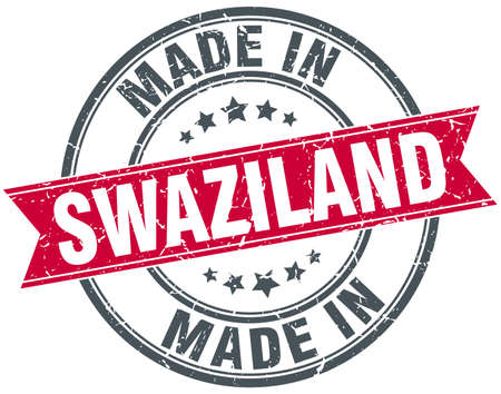 swaziland: made in Swaziland red round vintage stamp