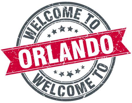 orlando: welcome to Orlando red round vintage stamp Illustration