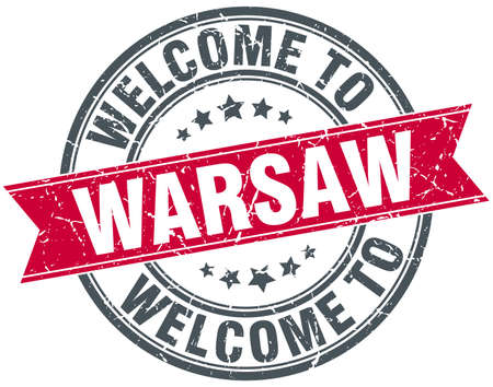 warsaw: welcome to Warsaw red round vintage stamp