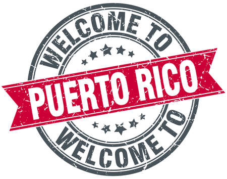 puerto rico: welcome to Puerto Rico red round vintage stamp Illustration