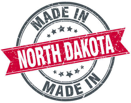 north dakota: made in North Dakota red round vintage stamp