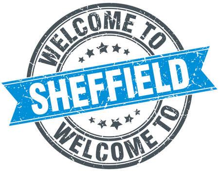 sheffield: welcome to Sheffield blue round vintage stamp