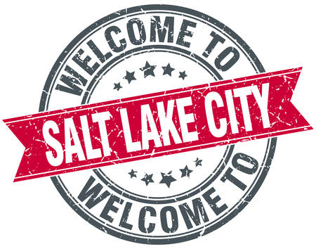 salt lake city: welcome to Salt Lake City red round vintage stamp