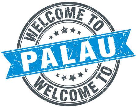 palau: welcome to Palau blue round vintage stamp