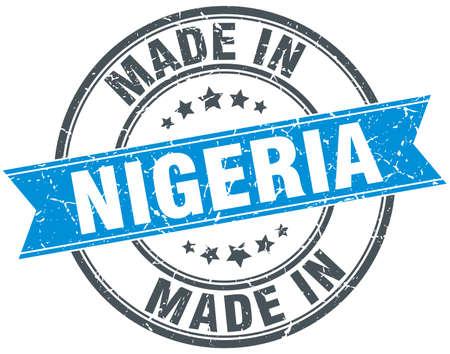 nigeria: made in Nigeria blue round vintage stamp