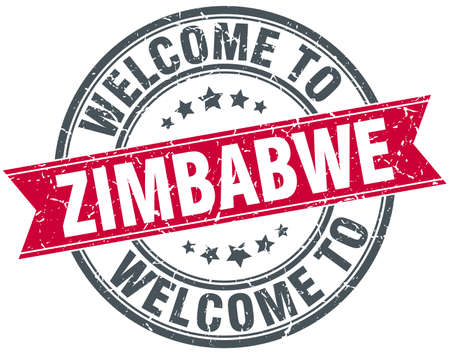 zimbabwe: welcome to Zimbabwe red round vintage stamp Illustration