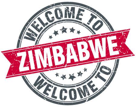 zimbabwe: welcome to Zimbabwe red round vintage stamp Vectores