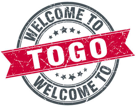 togo: welcome to Togo red round vintage stamp