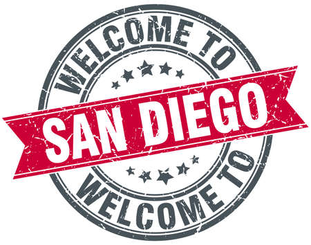 san diego: welcome to San Diego red round vintage stamp