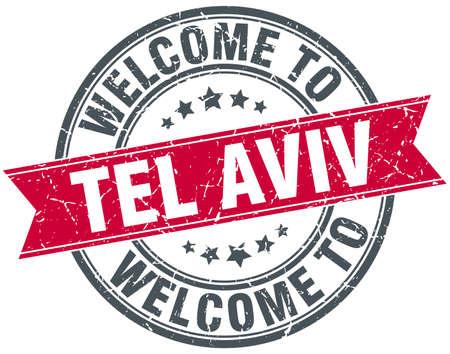 aviv: welcome to Tel Aviv red round vintage stamp