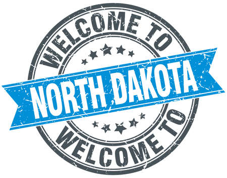 north dakota: welcome to North Dakota blue round vintage stamp Illustration
