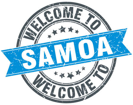 samoa: welcome to Samoa blue round vintage stamp Illustration