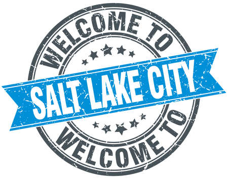salt lake city: welcome to Salt Lake City blue round vintage stamp Illustration