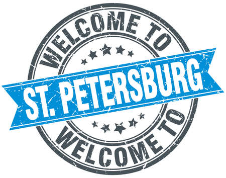 st petersburg: welcome to St. Petersburg blue round vintage stamp Illustration