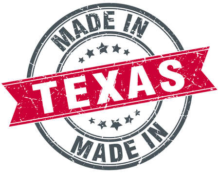 texas: made in Texas red round vintage stamp