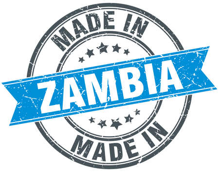 zambia: made in Zambia blue round vintage stamp