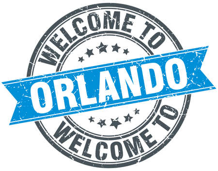 orlando: welcome to Orlando blue round vintage stamp Illustration