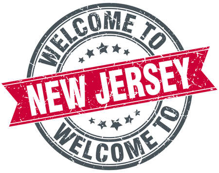 new jersey: welcome to New Jersey red round vintage stamp