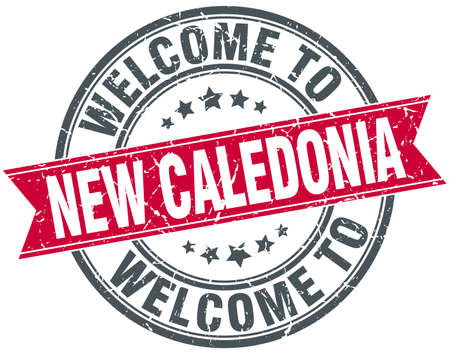 new caledonia: welcome to New Caledonia red round vintage stamp