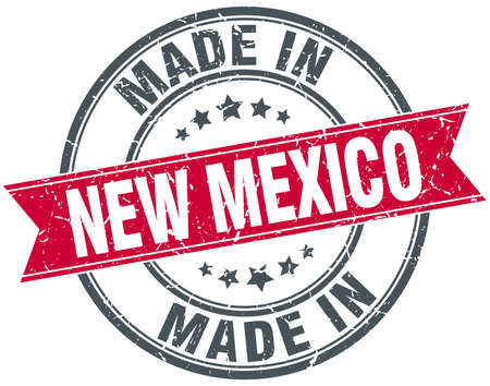 new mexico: made in New Mexico red round vintage stamp