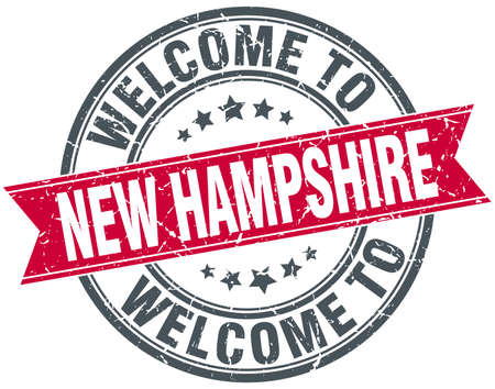 hampshire: welcome to New Hampshire red round vintage stamp