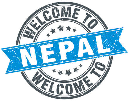 nepal: welcome to Nepal blue round vintage stamp Illustration