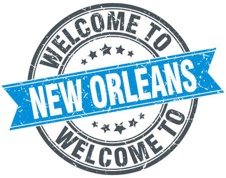 new orleans: welcome to New Orleans blue round vintage stamp