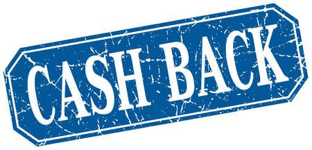cash back: cash back blue square vintage grunge isolated sign Illustration