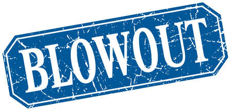 blowout: blowout blue square vintage grunge isolated sign