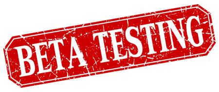 tester: beta testing red square vintage grunge isolated sign Illustration