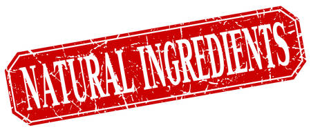 ingredients: natural ingredients red square vintage grunge isolated sign