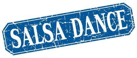 salsa dance: salsa dance blue square vintage grunge isolated sign Illustration