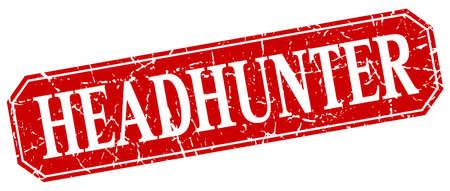 headhunter: headhunter red square vintage grunge isolated sign Illustration
