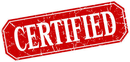 certify: certified red square vintage grunge isolated sign