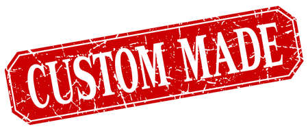 custom made: custom made red square vintage grunge isolated sign Illustration