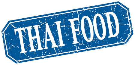 thai food: thai food blue square vintage grunge isolated sign Illustration