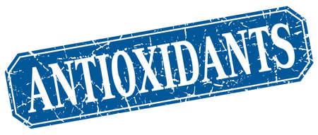 antioxidants: antioxidants blue square vintage grunge isolated sign