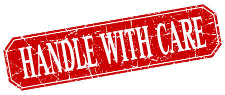 handle with care: handle with care red square vintage grunge isolated sign