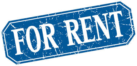 rent: for rent blue square vintage grunge isolated sign