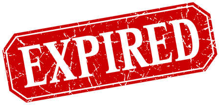 expired: expired red square vintage grunge isolated sign Illustration