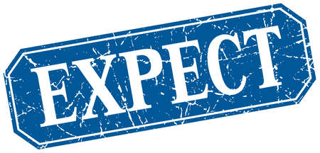 expect: expect blue square vintage grunge isolated sign