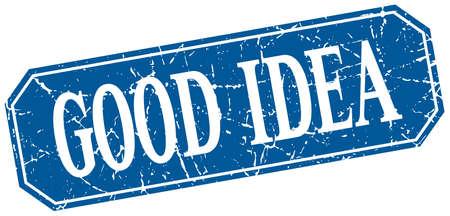 good idea: good idea blue square vintage grunge isolated sign Illustration